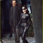 "Christian Bale, Anne Hathaway and Gary Oldman on the set of ""Dark Knight Rises"""